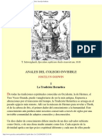 Anales Del Colegio Invisible (Hermes, Zoroastro, Orfeo). Joscelyn Godwin.