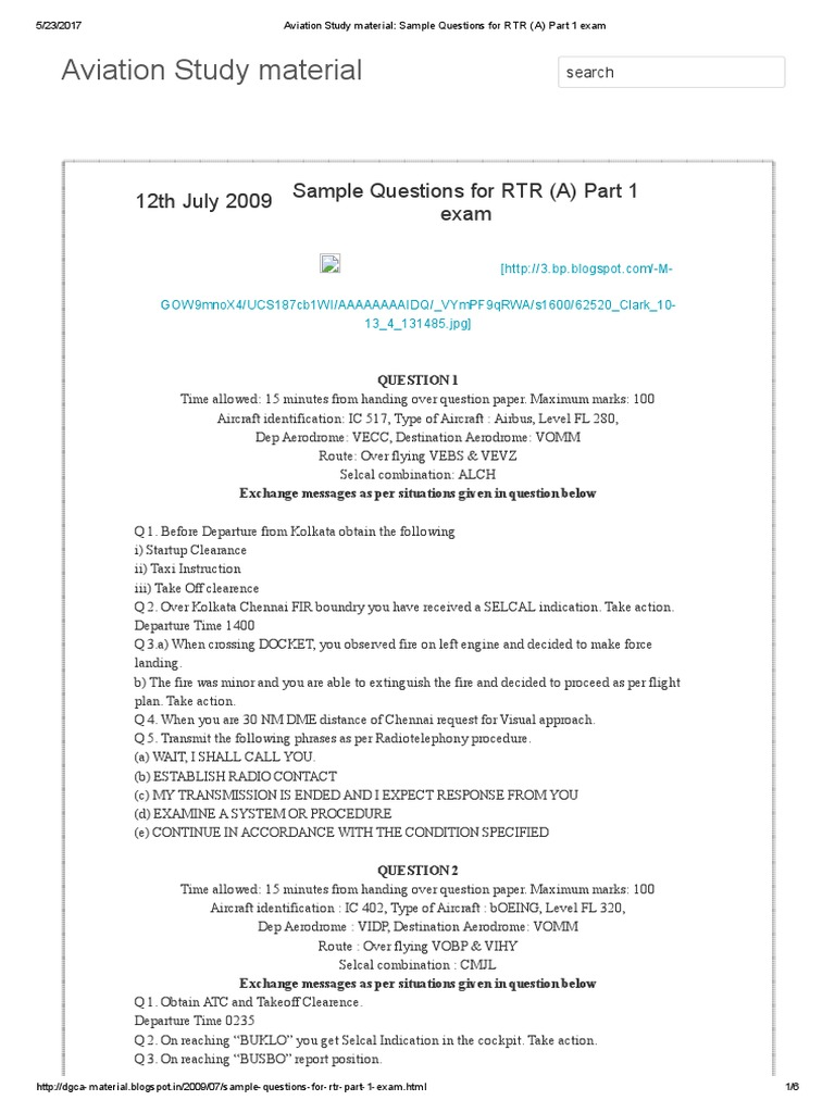 Aviation Study Material_ Sample Questions for RTR (a) Part 1 Exam