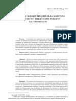 Processos de Separação e Recolha Selectiva de Resíduos nos Organismos Públicos