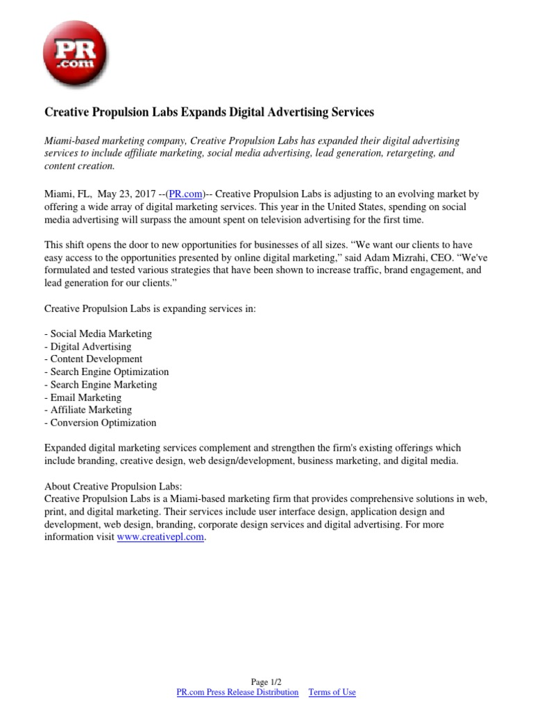 Creative Propulsion Labs Expands Digital Advertising Services Digital Marketing Advertising