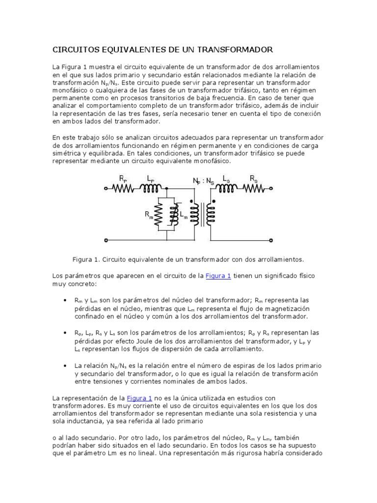 Circuito Significado : Circuitos equivalentes de un transformador 11111111