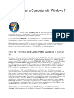 How to Format a Computer With Windows 7