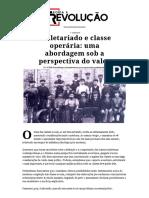 Proletariado e Classe Operária_ Uma Abordagem Sob a Perspectiva Do Valor – Teoria e Revolução