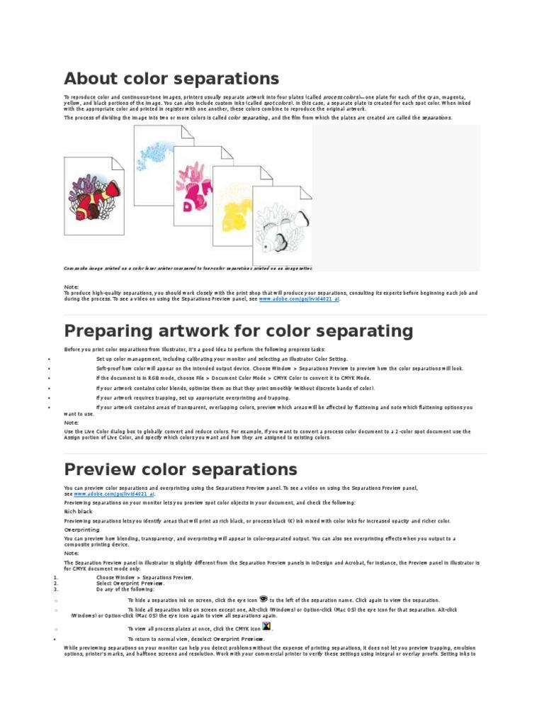 About Color Separations