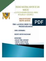Tema 1 - Origen Rocas, Clasificacion y Procesos Geol