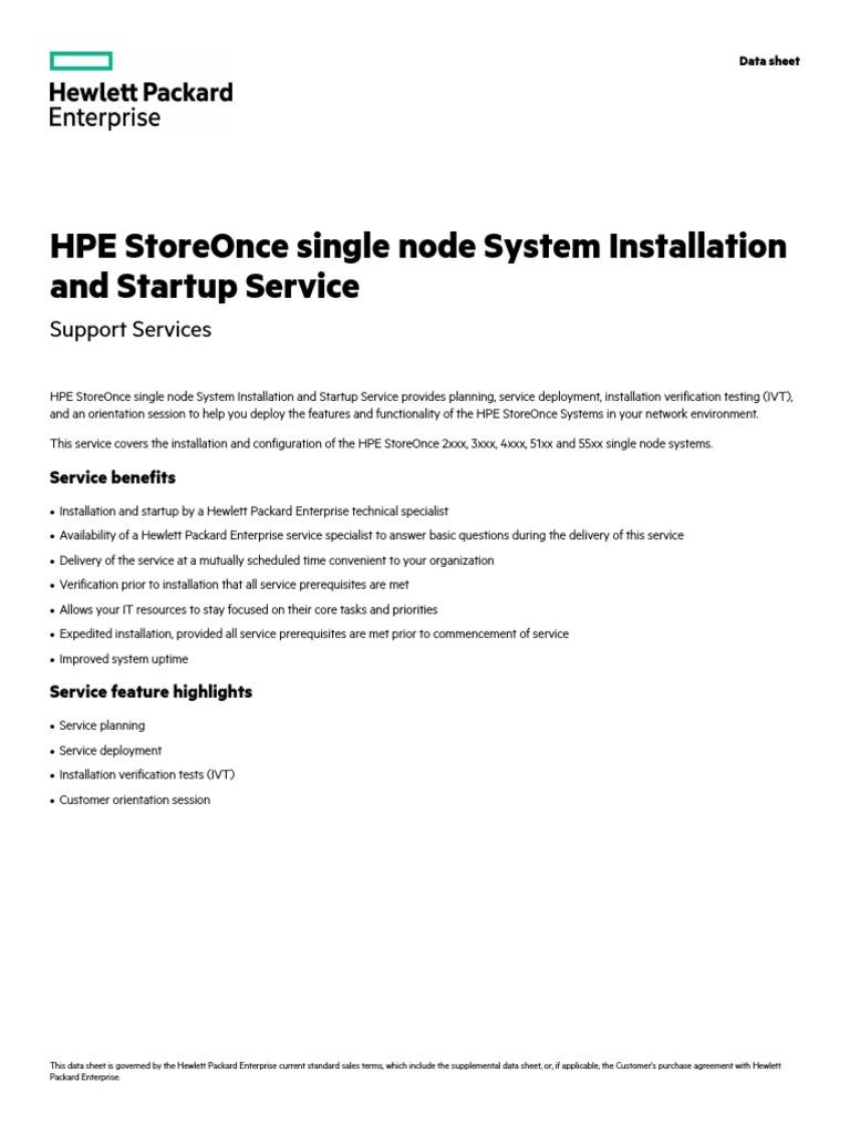 Array - hpe storeonce single node system installation and startup service      rh   es scribd com