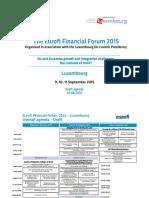 Eurofi Luxembourg Forum Draft Agenda
