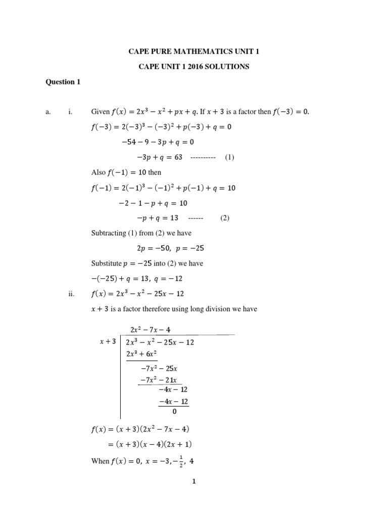 Cape Pure Maths Unit 1 Solutions 2011-2016 PDF | Function