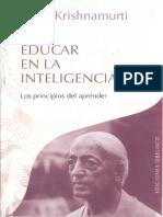 Educar en La Inteligencia - Jiddu Krishnamurti