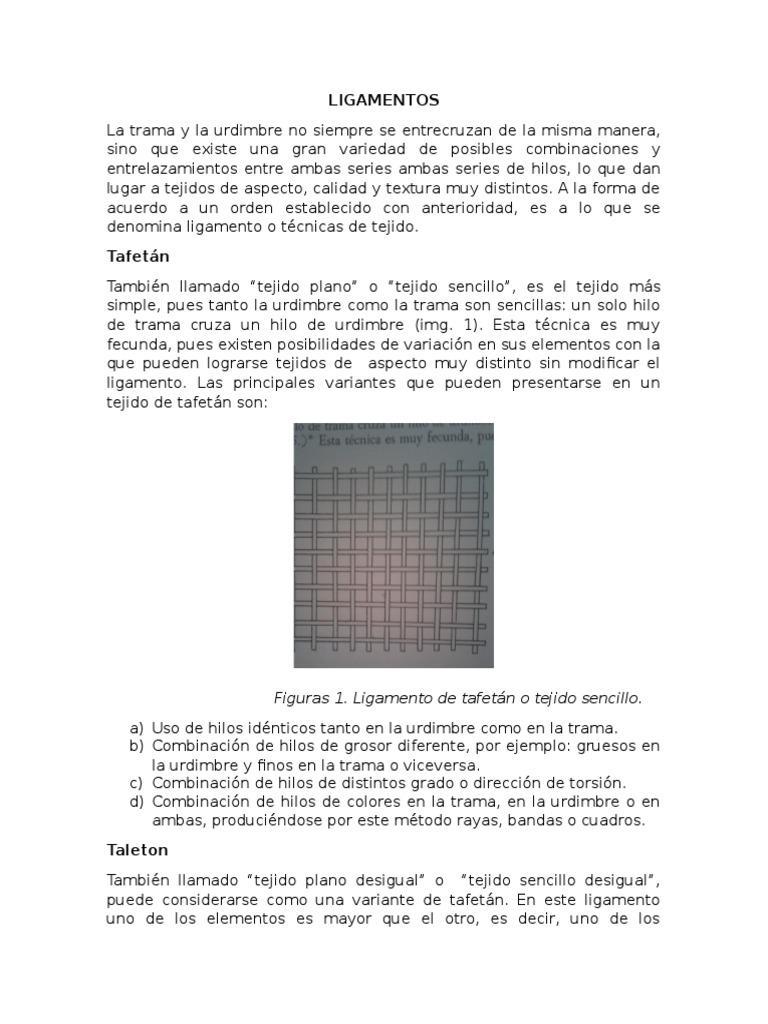 Ligamentos en textiles