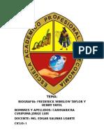 Administracion General. Mg Edgar Salinas Loarte. Biografia de Frederick Winslow Taylor y Hanry Fayol