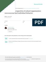 La Perspectiva Cultural de La Organizacion Escolar Marco Institucional y Comportamiento Individual