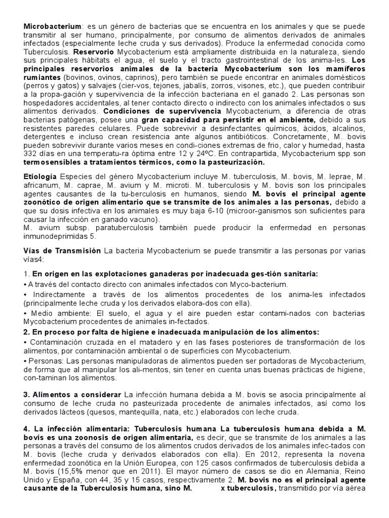 infección humana por mycobacterium bovis