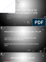 Tabla de Especificaciones Y EPE