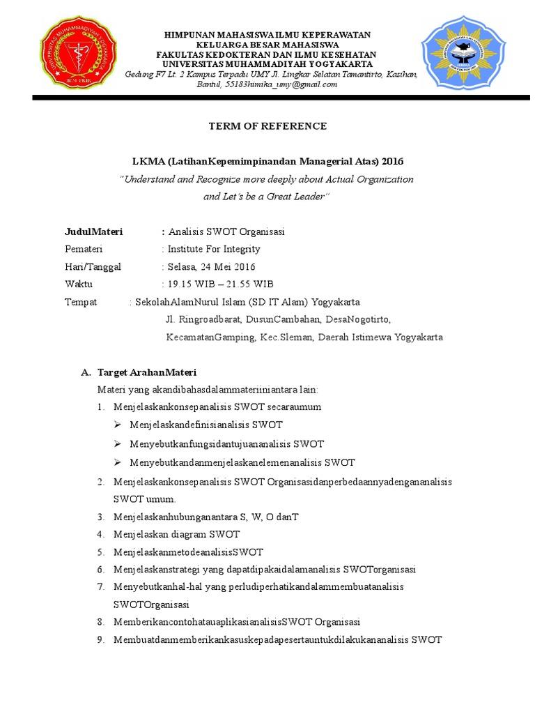 Contoh Tor Analisis Swot Organisasi