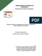 Estudio de residuos de plaguicidas en frutas y hortalizas en áreas específicas de Colombia.