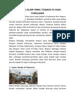 Bencana Alam Yang Terjadi Di Asia Tenggara