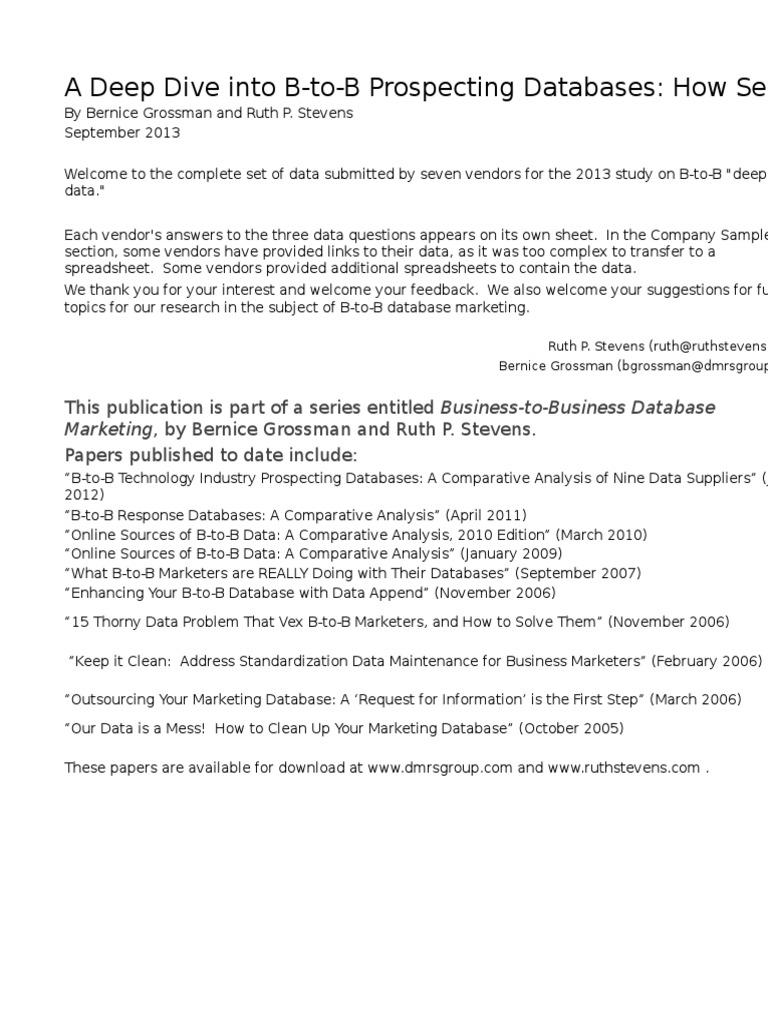 Deep Data 2013 Supplementary Spreadsheet