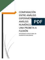 Comparacion Entre Analisis Experimental y Analisis Numerico de Una Probeta