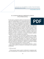 Clases de Foros de Competencia Judicial Civil Internacional