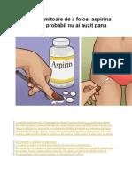 9 Metode Uimitoare de a Folosi Aspirina