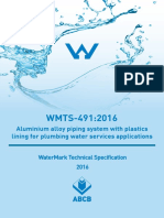 WMTS 491 2016 Aluminium Alloy Piping System With Plastics Lining Lumbing Water Services Applications
