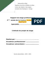 Page de Couverture Pour Les Mémoires de Stage2016