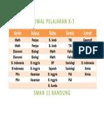 JADWAL PELAJARAN X-7 SMAN 11 Bandung