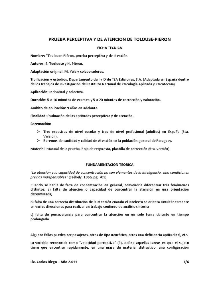 test de toulouse pi u00e9ron resumen del manual