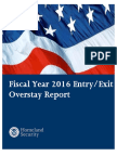 Entry and Exit Overstay Report, Fiscal Year 2016