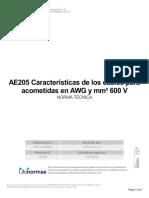 AE205 Características de Los Cables Para ACOMETIDAS en AWG Y MM2 600V