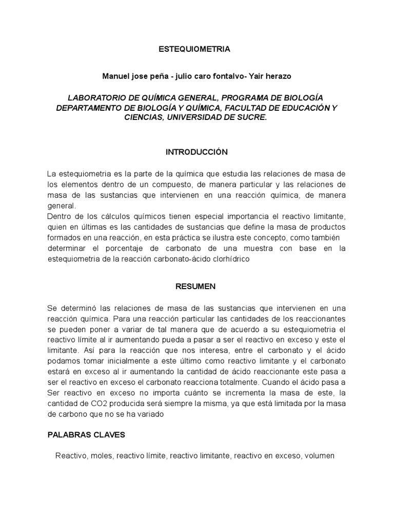 Lujoso Reactivo Limitante Hoja De Trabajo 2 Colección de Imágenes ...