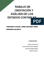 TRABAJO DE PRESENTACIÓN Y  ANÁLISIS DE LOS ESTADOS CONTABLES