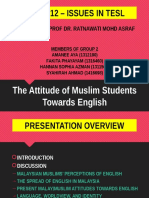 (EDC 3212 - Issues in TESL) The Attitude of Muslim Students Towards English