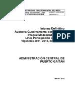 Auditoria Admon Central de Puerto Gaitan Meta - Vigencias 2011 2012 2013 y 2014