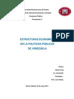 ESTRUCTURA ECONOMICA  EN LA POLITICAS PÚBLICAS  DE VENEZUELA