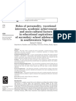 Salami - Roles of Personality, Vocational Interests, Academic Achievement and Socio-cultural Factors in Educational Aspirations