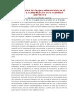 La Evaluación de Riesgos Psicosociales en El Trabajo y La Planificación de La Actividad Preventiva