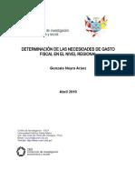 Determinación de las necesidades de gasto fiscal en el nivel regional