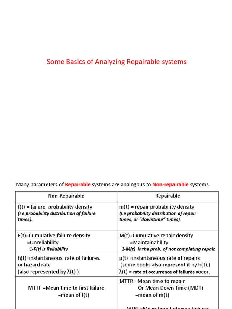 T And T Repairables >> Analysis Of Repairable Systems 2 Mathematical Analysis