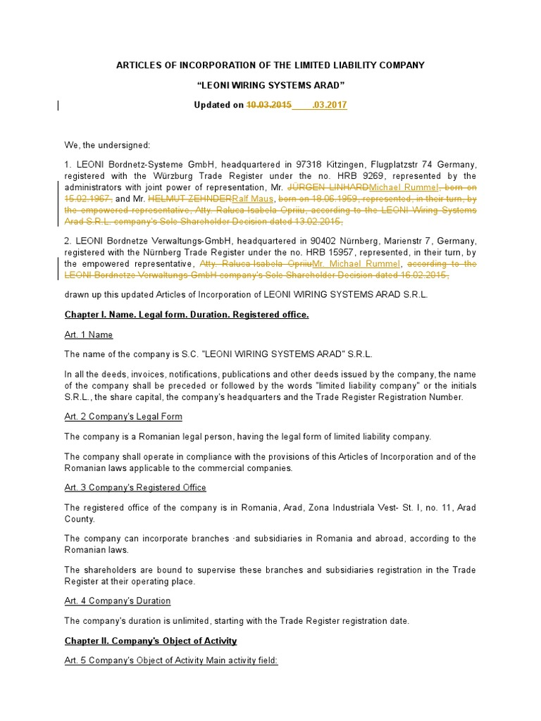 Articles Of Incorporation Securities Finance Expense Leoni Wiring System