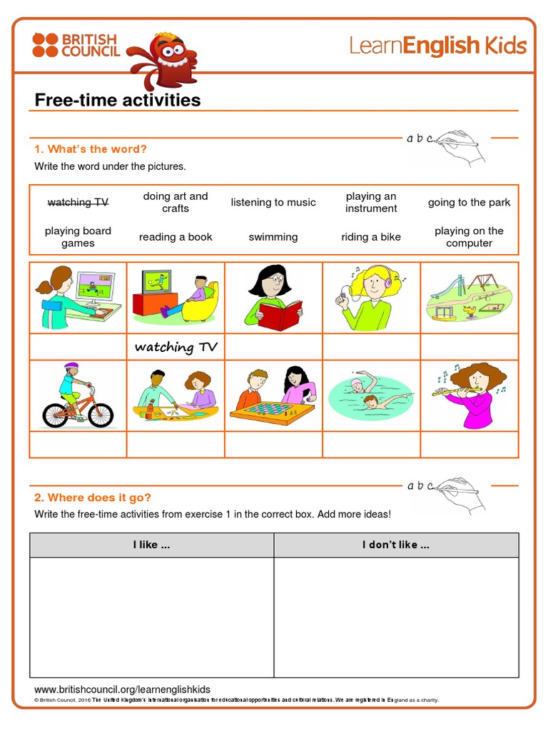 free time activities worksheet british council