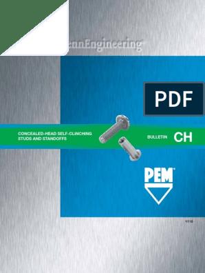 CFHA CHC Unified Types CHA Pem Concealed-Head Studs CHC-032-6 CFHC