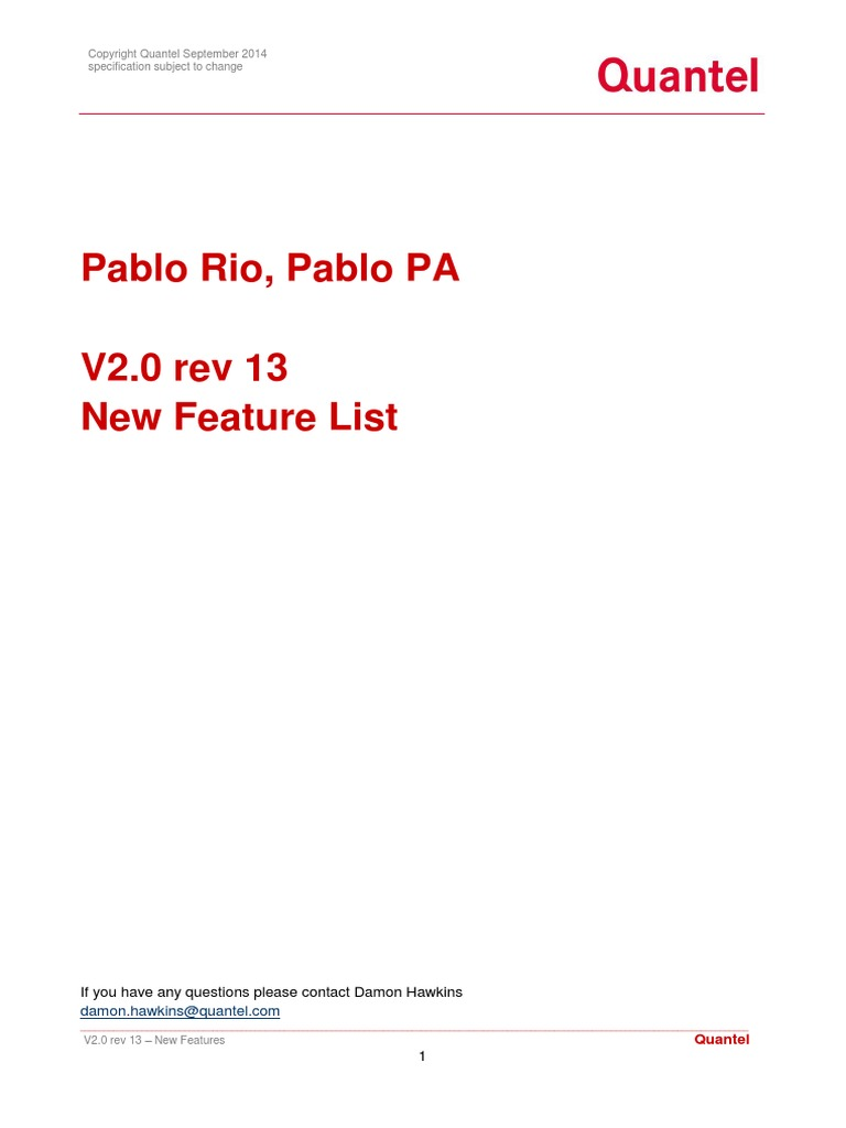 Pablo Rio v20 Rev 13 New Features | Film Industry | Display