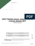 """CS 217 Detalles ductos, zanjas y rellenos. 4 ductos diámetro Ø 6"""".pdf"""