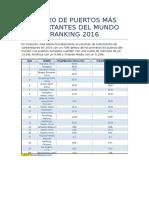 ranking de puertos mas importantes del mundo y de latino america