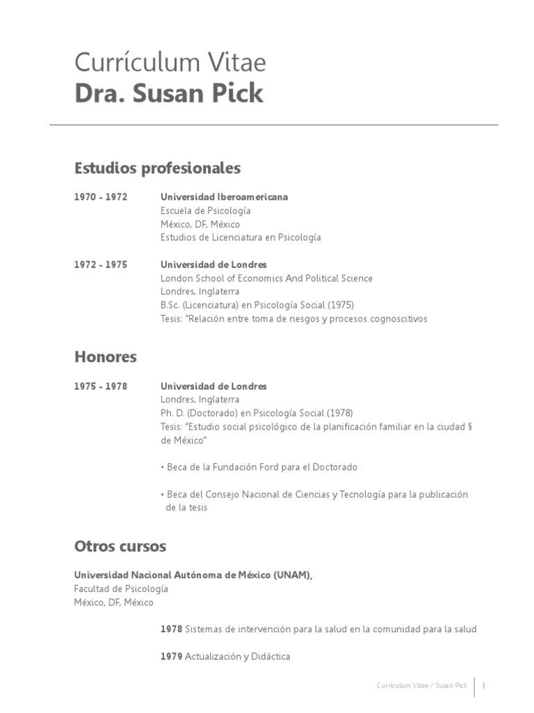 Currículum Vitae Dra. Susan Pick - Yo quiero Yo puedo.pdf