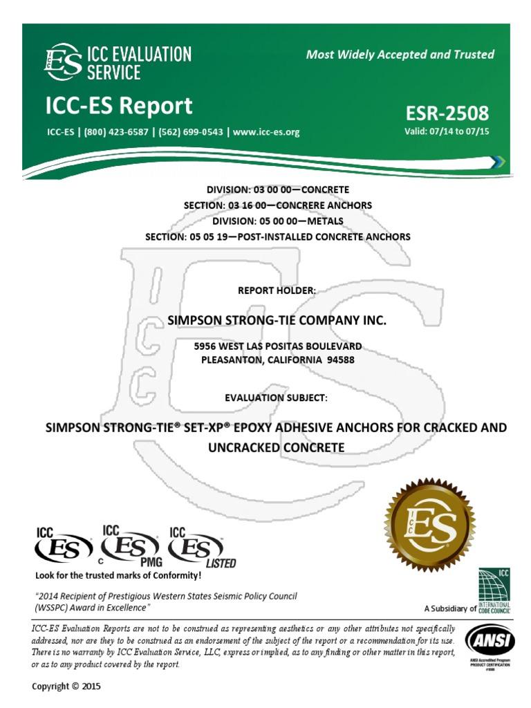 Esr 2508 Simpson Strong Tie Set Xp Strength Of