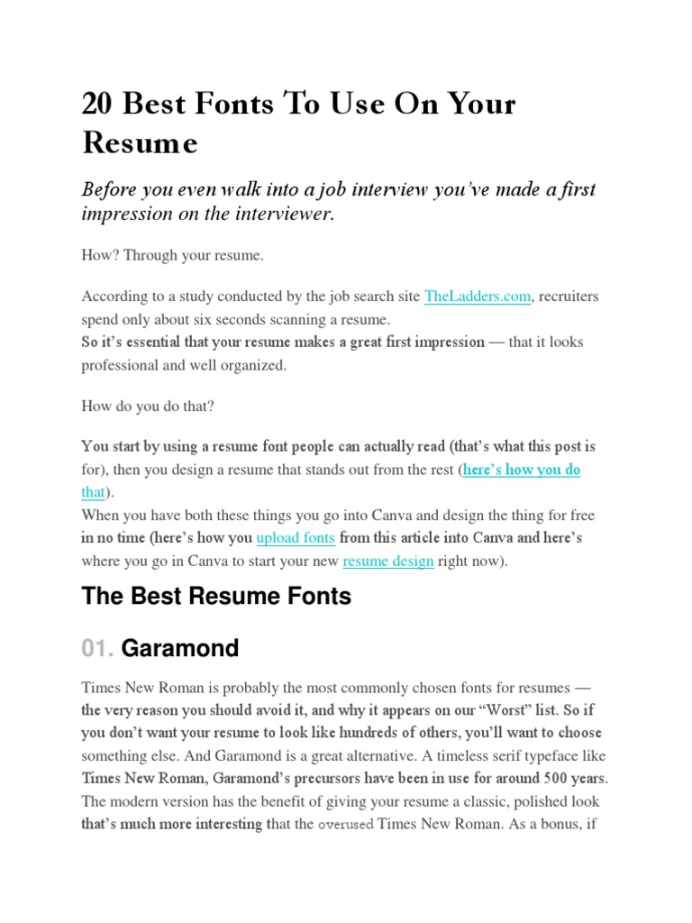 20 best fonts to use on your resume typefaces times new roman
