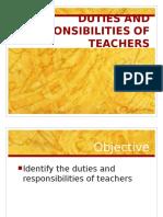 Duties & Responsibilities of Teachers